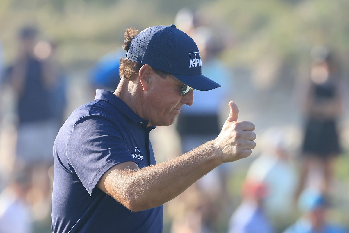 Phil Mickelson of the United States gives a thumbs up during the final round of the 2021 PGA Championship held at the Ocean Course of Kiawah Island Golf Resort on May 23, 2021 in Kiawah Island, South Carolina.