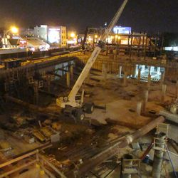 10:43 p.m. An overall view of the triangle lot at night -