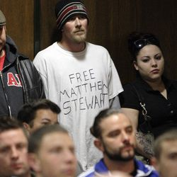 """Family and friends of Matthew David Stewart gather during a """"Keep the Peace"""" rally in Ogden Thursday, April 12, 2012. Stewart, a decorated former U.S. Army soldier, is charged with capital murder in the shooting death of Ogden police officer Jared Francom."""