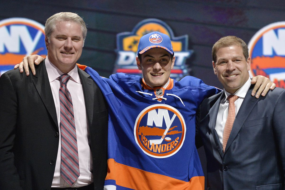 Mathew Barzal after being drafted #16 overall in the 2015 NHL Entry Draft by the New York Islanders