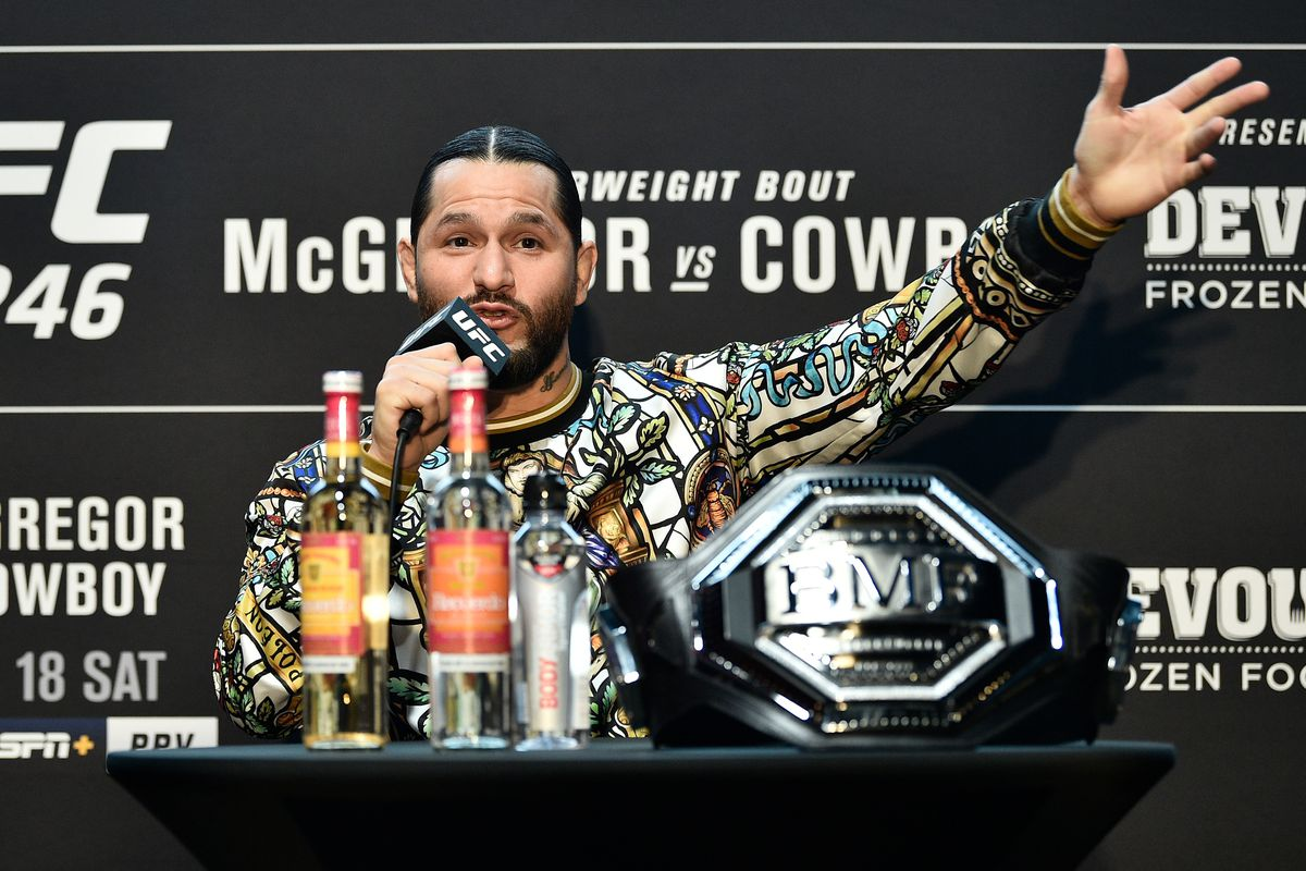 UFC welterweight Jorge Masvidal interacts with the media during the UFC 246 Ultimate Media Day at UFC APEX on January 16, 2020 in Las Vegas, Nevada.