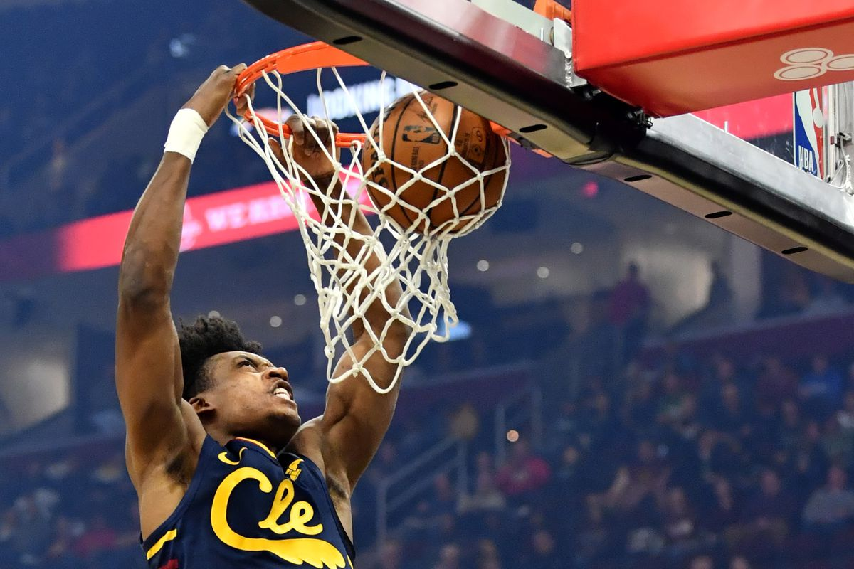 Cleveland Cavaliers guard Collin Sexton dunks during the first half against the Boston Celtics at Rocket Mortgage FieldHouse.