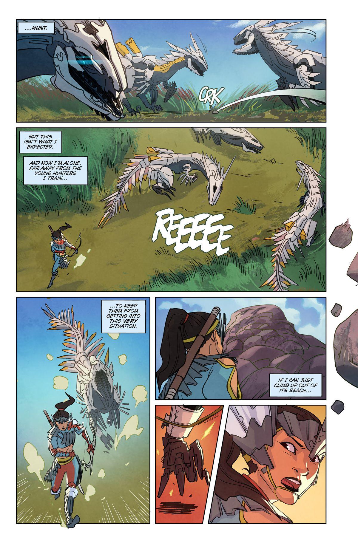 Mechanical dragon-like beasts fighting in Horizon Zero Dawn #1, Titan Comics (2020)
