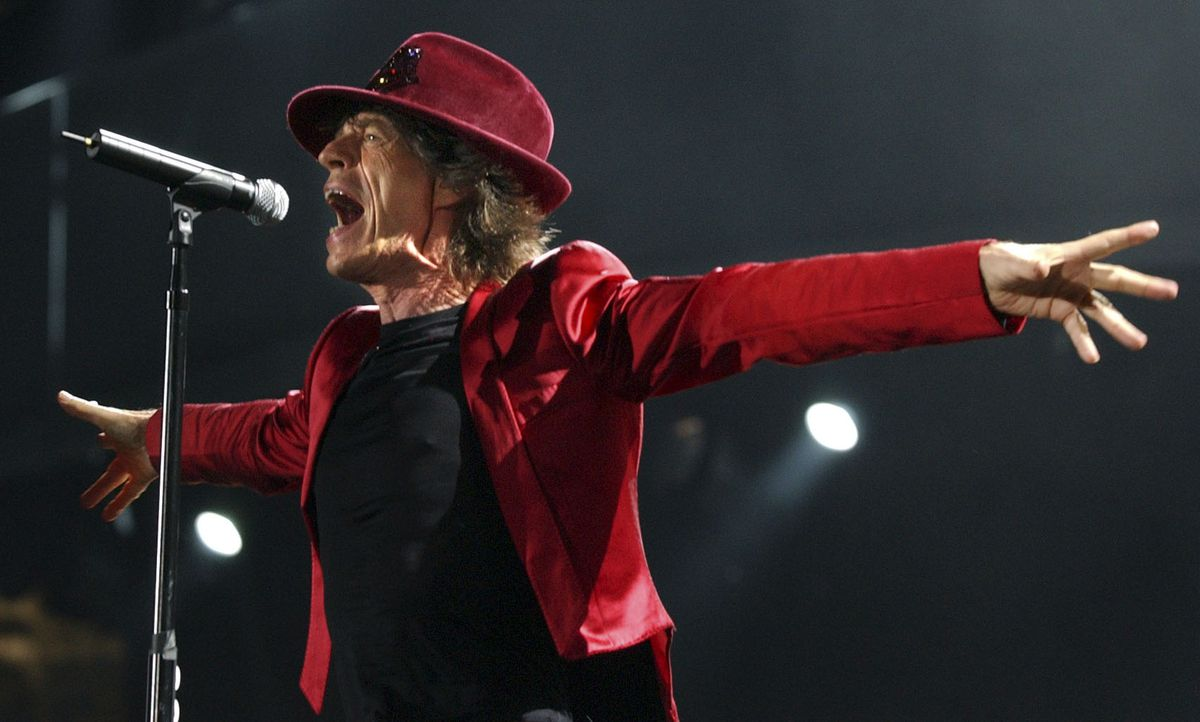 Mick Jagger with the Rolling Stones at Soldier Field on Sept. 20, 2005.   Sun-Times photo by Tom Cruze