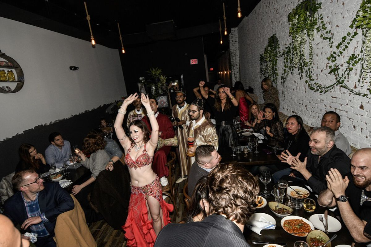 Belly dancers at Mekki's grand opening party