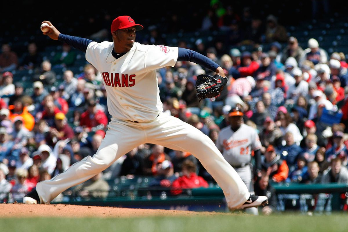 CLEVELAND - APRIL 17:  Fausto Carmona #55 of the Cleveland Indians pitches against the Baltimore Orioles during the game on April 17, 2011 at Progressive Field in Cleveland, Ohio.  (Photo by Jared Wickerham/Getty Images)