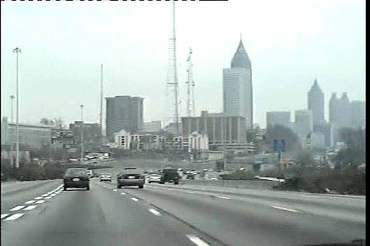 A photo of a sparser Atlanta skyline in the late 1990s.