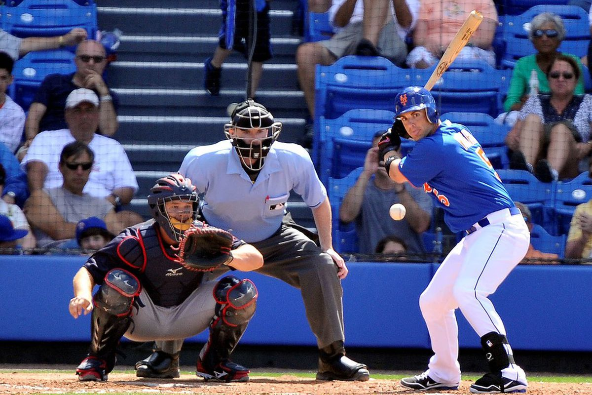 March 27, 2012; Port St Lucie, FL, USA;   New York Mets third baseman David Wright (5) at bat in the fifth inning of a spring training game against the Atlanta Braves at Digital Domain Park. Mandatory Credit: Brad Barr-US PRESSWIRE