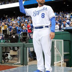 Mike Moustakas is introduced to the crowd at Kauffman Stadium on Opening Day