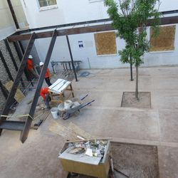 Looking down on the shared common area behind Carson Kitchen. Guests can even dine back here.
