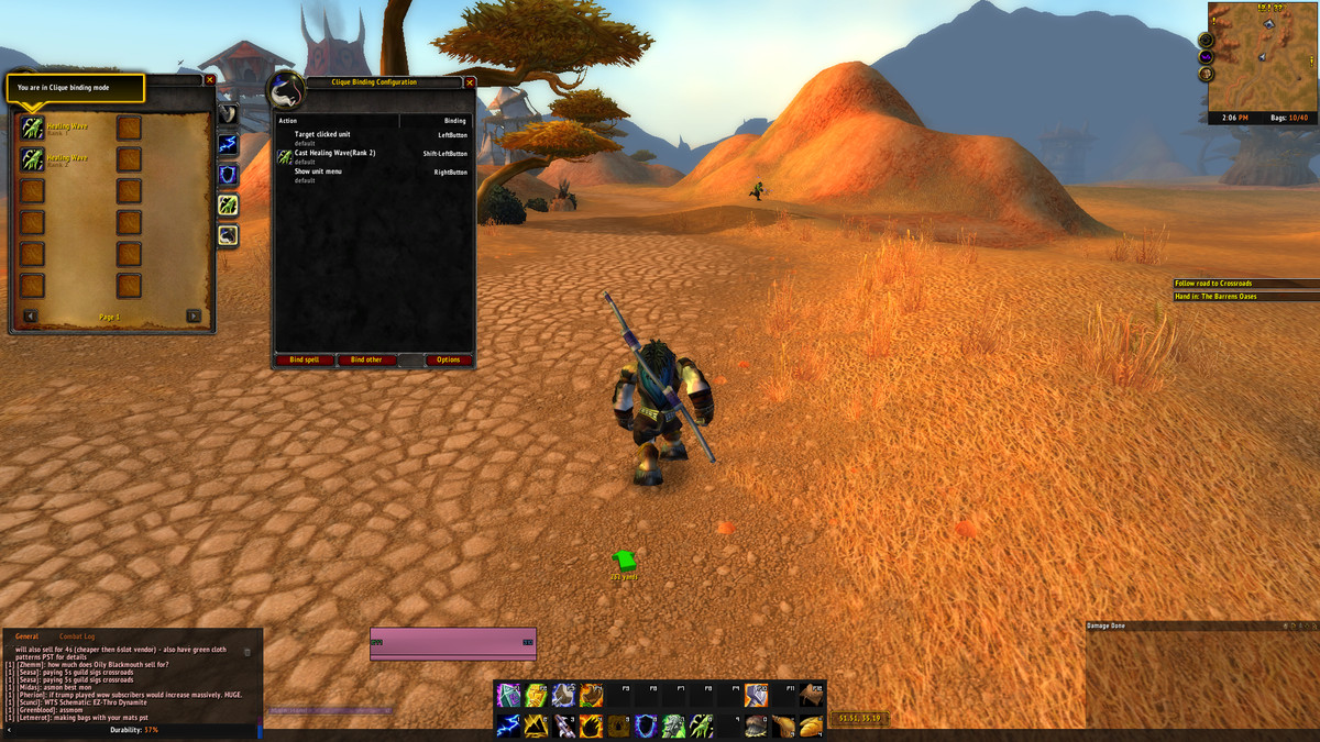 World of Warcraft Classic player using Clique to bind spells