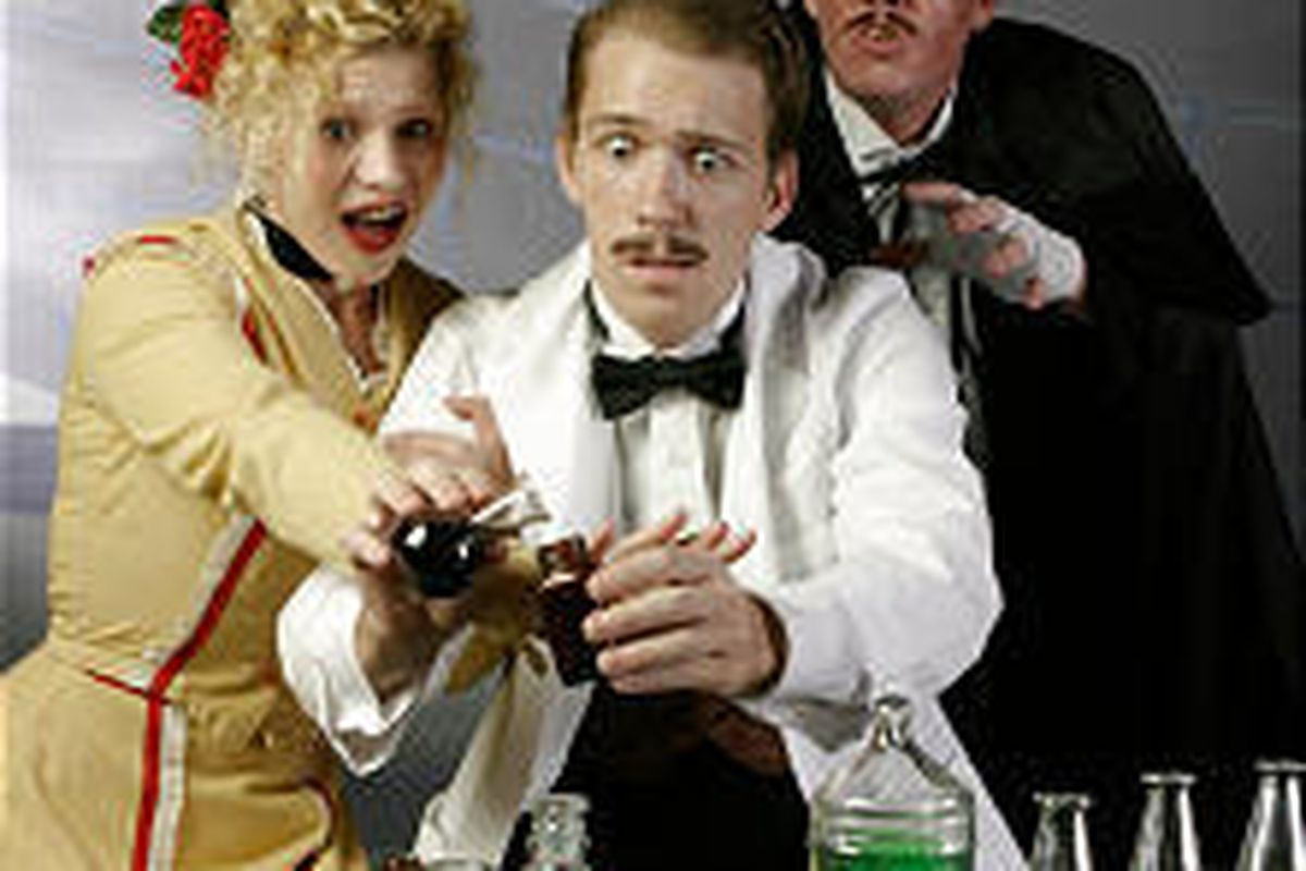 """Helen Mustard (Jessica Sullivan) tries to prevent Dr. Jekyll (John Tyler Rowland) from mixing the formula that turns him into the diabolical Mr. Hyde (Jack Drayton) in Desert Star Theater's """"Jekyll and Hyde."""""""