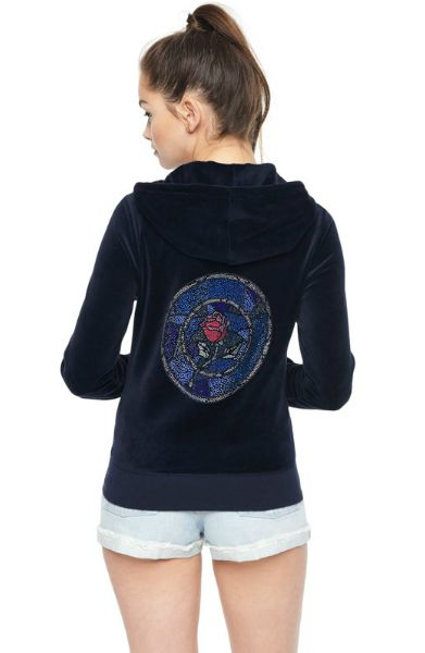 Juicy Couture Beauty and the Beast themed jacket, on a model