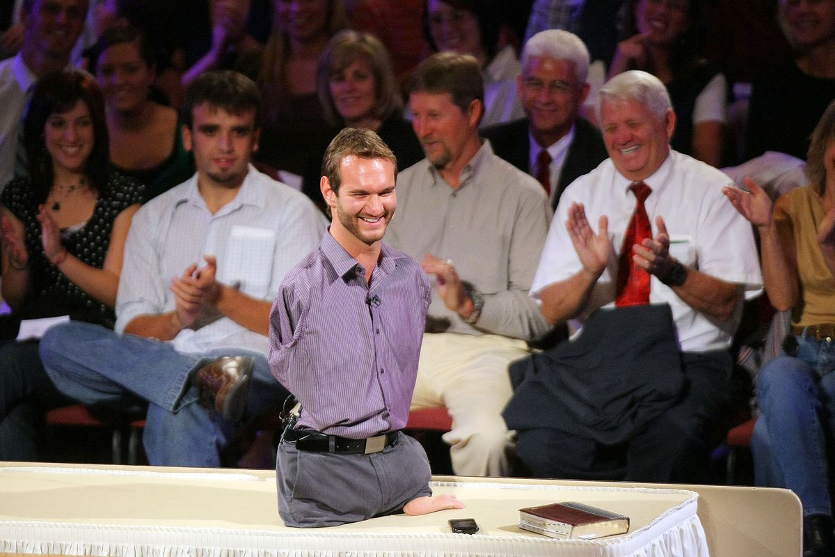 Nick Vujicic, a world renowned motivational speaker from Australia who has no arms or legs, speaks to a filled Tabernacle audience on Sept. 13, 2009.