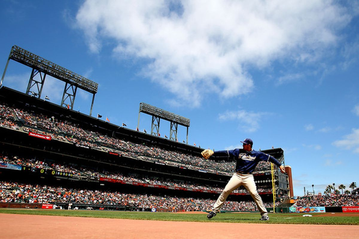 SAN FRANCISCO - AUGUST 14: Adrian Gonzalez #23 of the San Diego Padres warms up against the San Francisco Giants during an MLB game at AT&T Park on August 14 2010 in San Francisco California.  (Photo by Jed Jacobsohn/Getty Images)