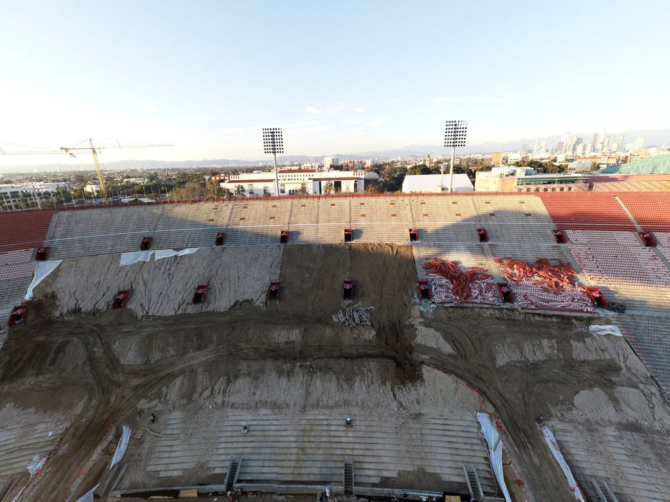 A January drone photo shows where some seats have been removed—for now.