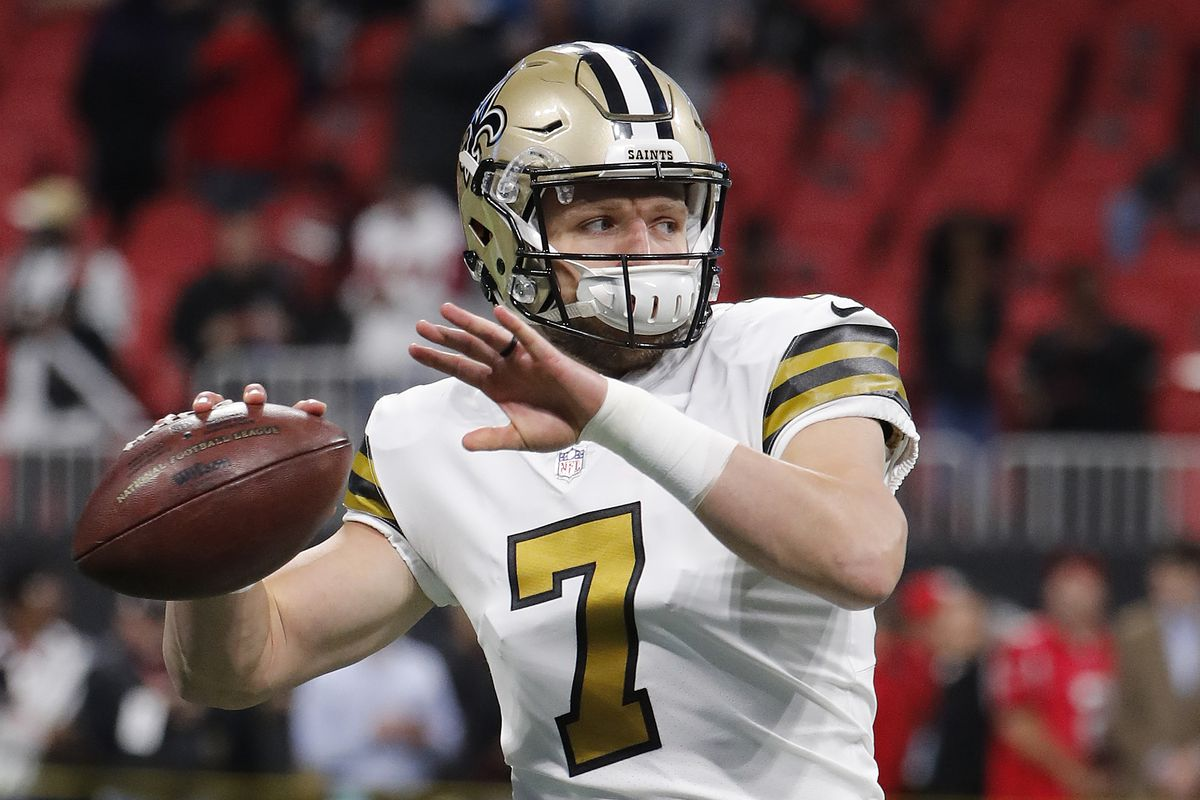 New Orleans Saints quarterback Taysom Hill (7) warms up before the first half of an NFL football game between the Atlanta Falcons and the New Orleans Saints, Thursday, Dec. 7, 2017, in Atlanta. (AP Photo/David Goldman)