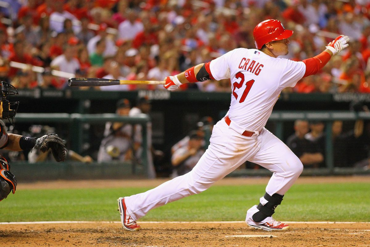 Allen Craig of the St. Louis Cardinals (Photo by Dilip Vishwanat/Getty Images)