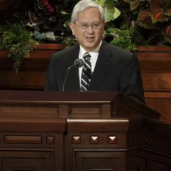 Elder Gerrit W. Gong of the Quorum of the Twelve Apostles speaks during the Sunday morning session of the 189th Semiannual General Conference of The Church of Jesus Christ of Latter-day Saints in the Conference Center in Salt Lake City on Sunday, Oct. 6, 2019.