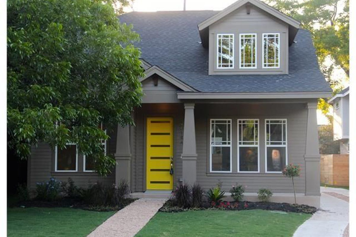 two-story gray Craftsman style house