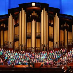A combined Relief Society choir from Brigham Young University sings during The Church of Jesus Christ of Latter-Day Saints' General Women's Session of the 187th Annual General Conference in the Conference Center in Salt Lake City on Saturday, March 25, 2017.