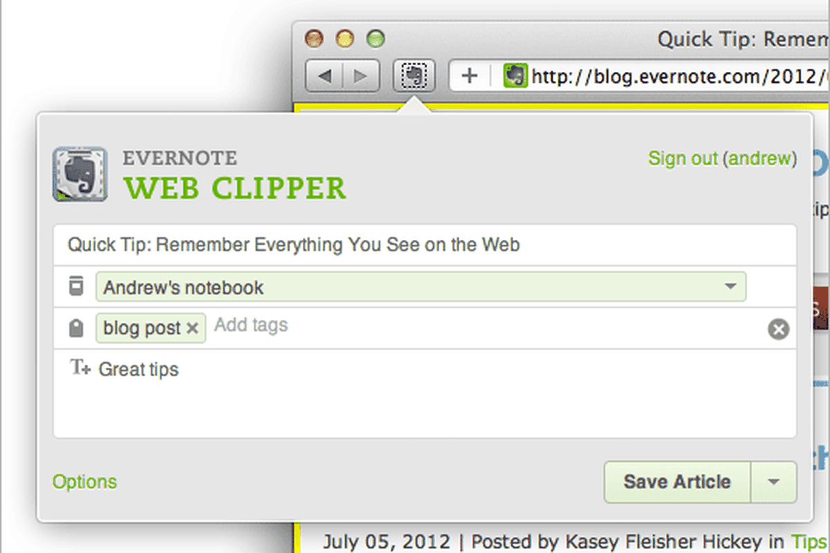 Evernote updates Safari browser extension with auto-tag