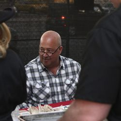 Judge Andrew Zimmern at the Rock Your Taco event