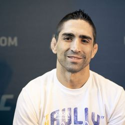 Ricardo Lamas poses at UFC 225 media day.