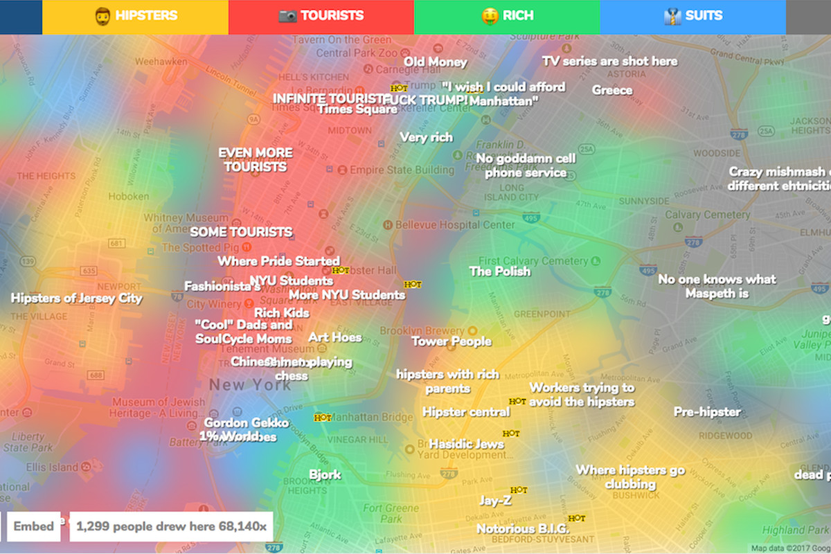 Crowdsourced Map Confirms Long Held Stereotypes About Nyc