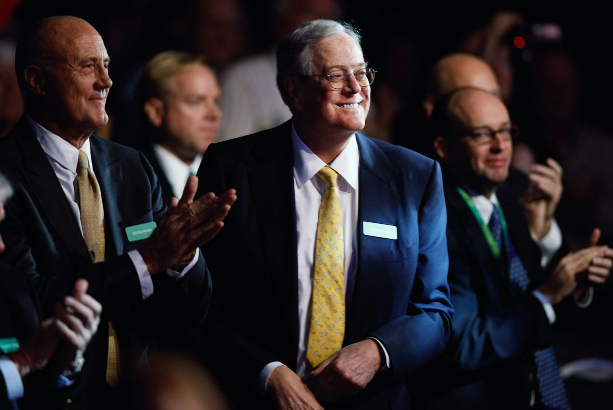 David Koch, center, has helped outside advocacy groups command a greater share of resources in the conservative universe.