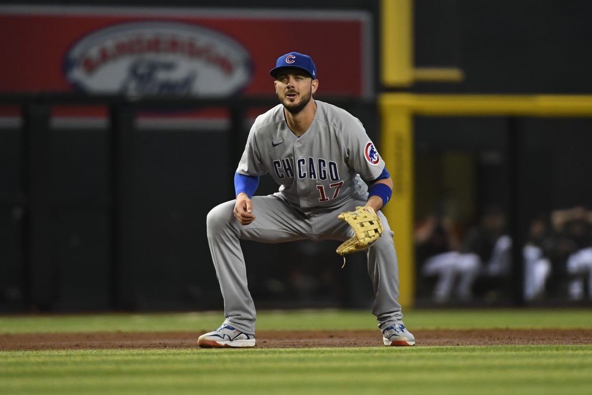 Kris Bryant of the Chicago Cubs gets ready to make a play at third base against the Arizona Diamondbacks at Chase Field on July 17, 2021 in Phoenix, Arizona.