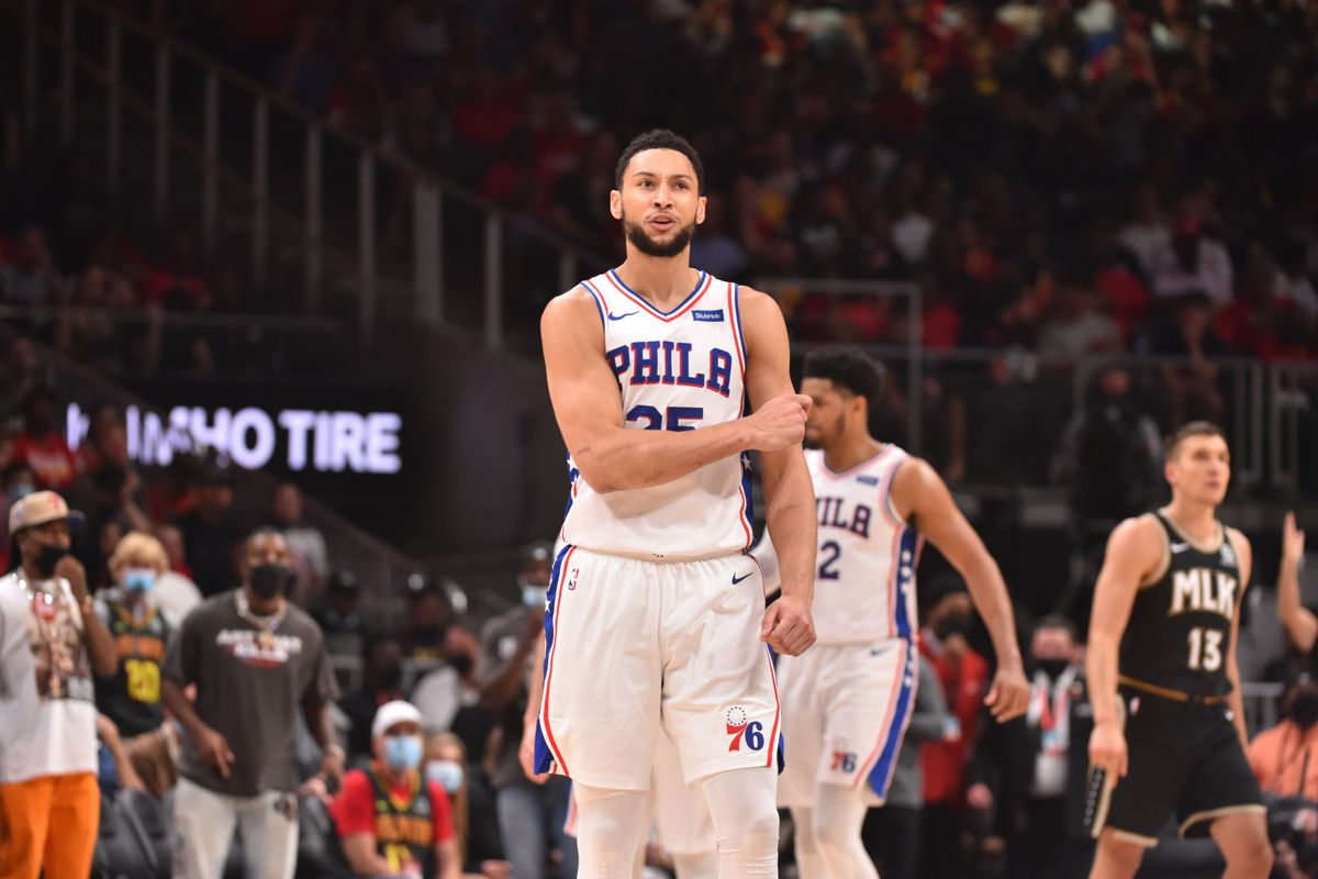 Ben Simmons of the Philadelphia 76ers reacts during a game against the Atlanta Hawks during Round 2, Game 6 of the Eastern Conference Playoffs on June 18, 2021 at State Farm Arena in Atlanta, Georgia.