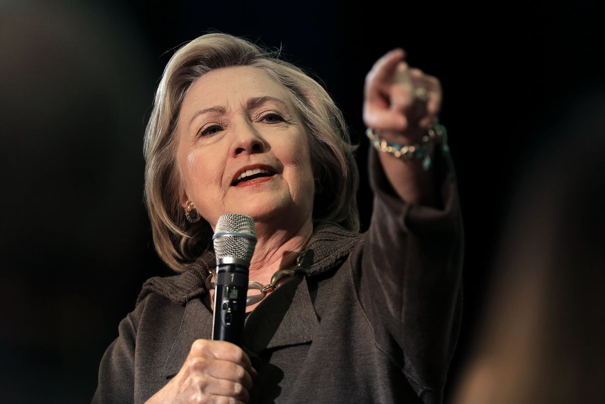 Democratic presidential candidate Hillary Clinton takes a question during a town hall-style campaign event on Sunday, Jan. 3, 2016, in Derry, N.H.   Steven Senne/AP