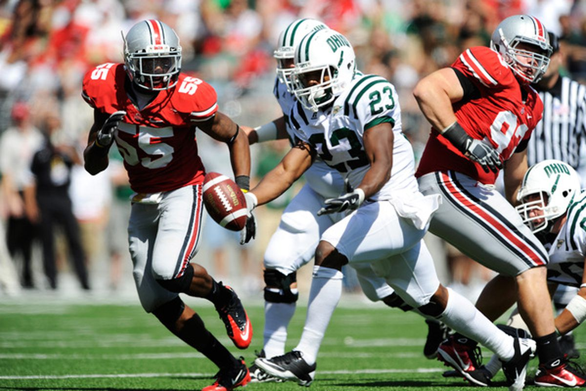Jonathan Newsome (#55) during his OSU days. He won't be chasing the ball-carrier for a couple weeks, at least.