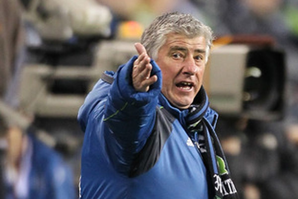 Sigi Schmid when last the two met; pointing towards goal as if to say, put the ball there - Seattle won 3-0