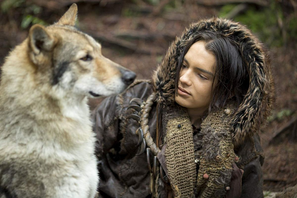 Kodi Smit-McPhee and the wolf-dog in Alpha