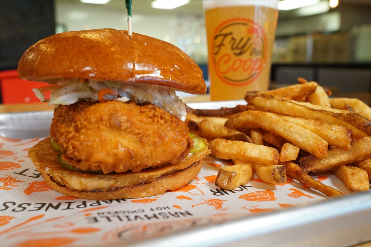 The Nashville hot chicken sandwich served at Fry The Coop.