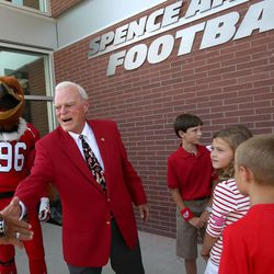 Spencer F. Eccles shakes hands at the grand opening of the new Spence and Cleone Eccles Football Center at the University of Utah in Salt Lake City on Thursday, Aug. 15, 2013.