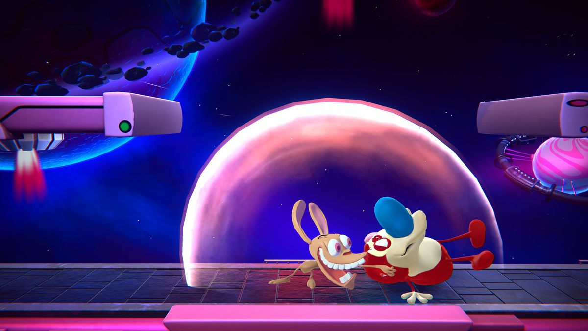 A screenshot of Ren using Stimpy as a weapon in Nickelodeon All-Star Brawl