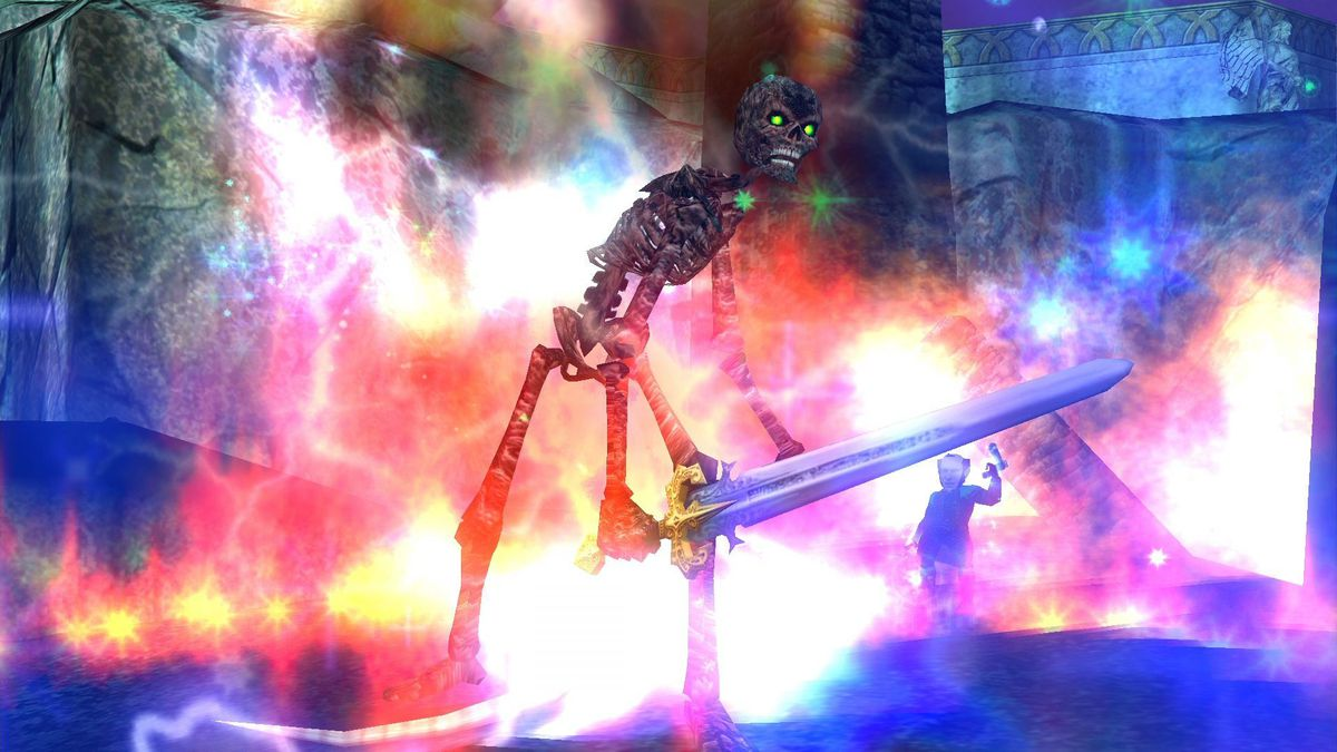 EverQuest - A skeleton, on fire, has a sword and is surrounded by electrical energy and arcane magic