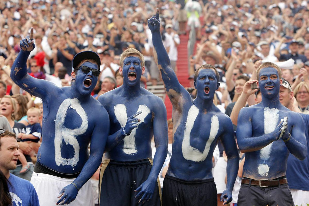 BYU fans cheers on the team during the Cougar season opener with Ole Miss in Oxford, Miss Saturday, Sept. 3, 2011.