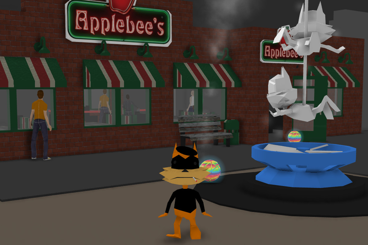 Bubsy standing outside of a fake Applebee's restaurant
