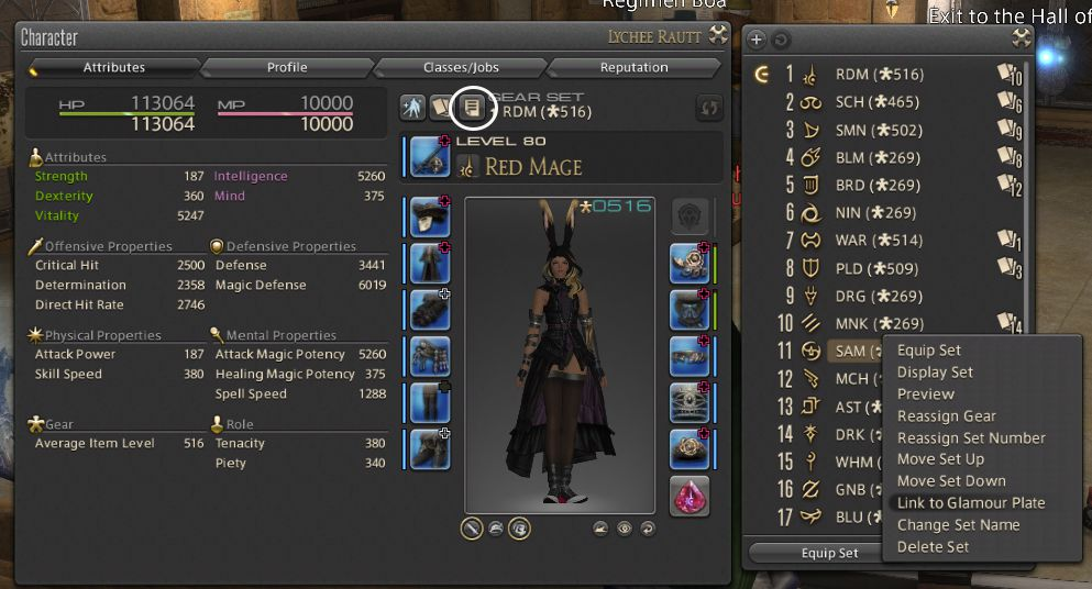 A screenshot of the character screen with the gear sets menu opened, showing how to assign glamour plates to a gear set