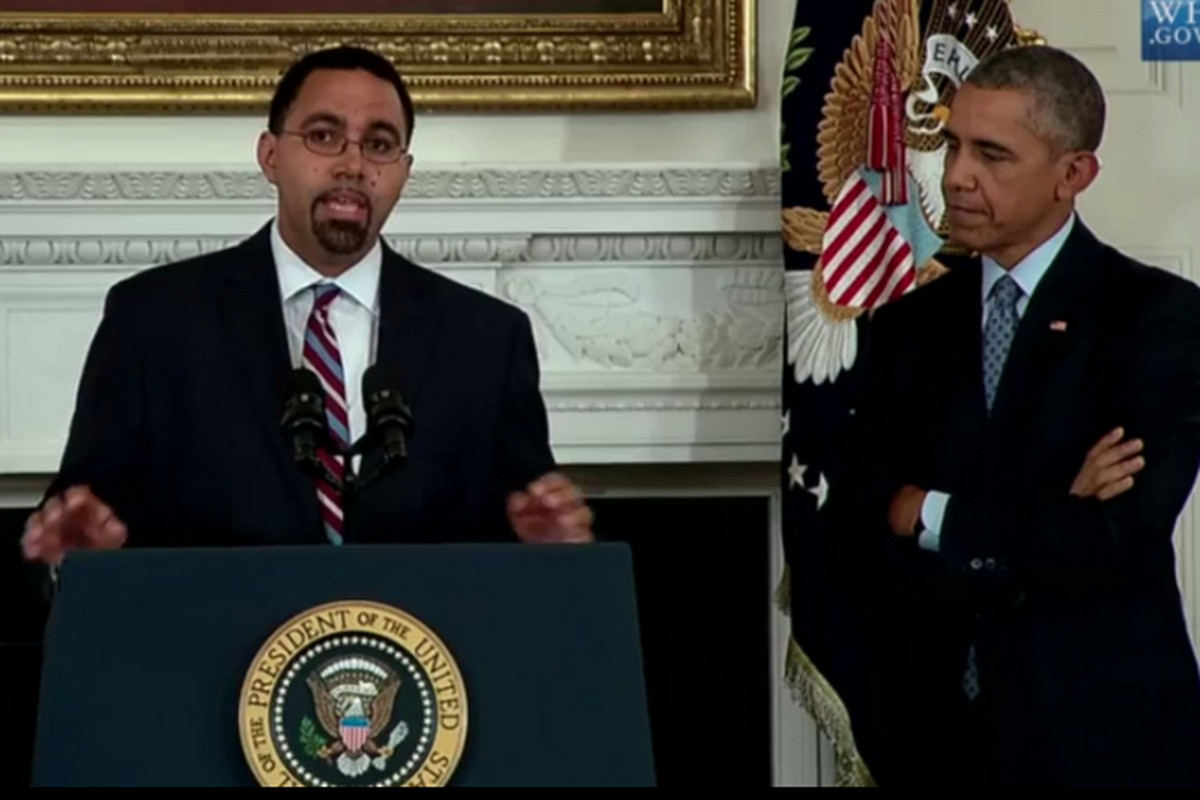 U.S. Education Secretary John King and President Obama in 2015