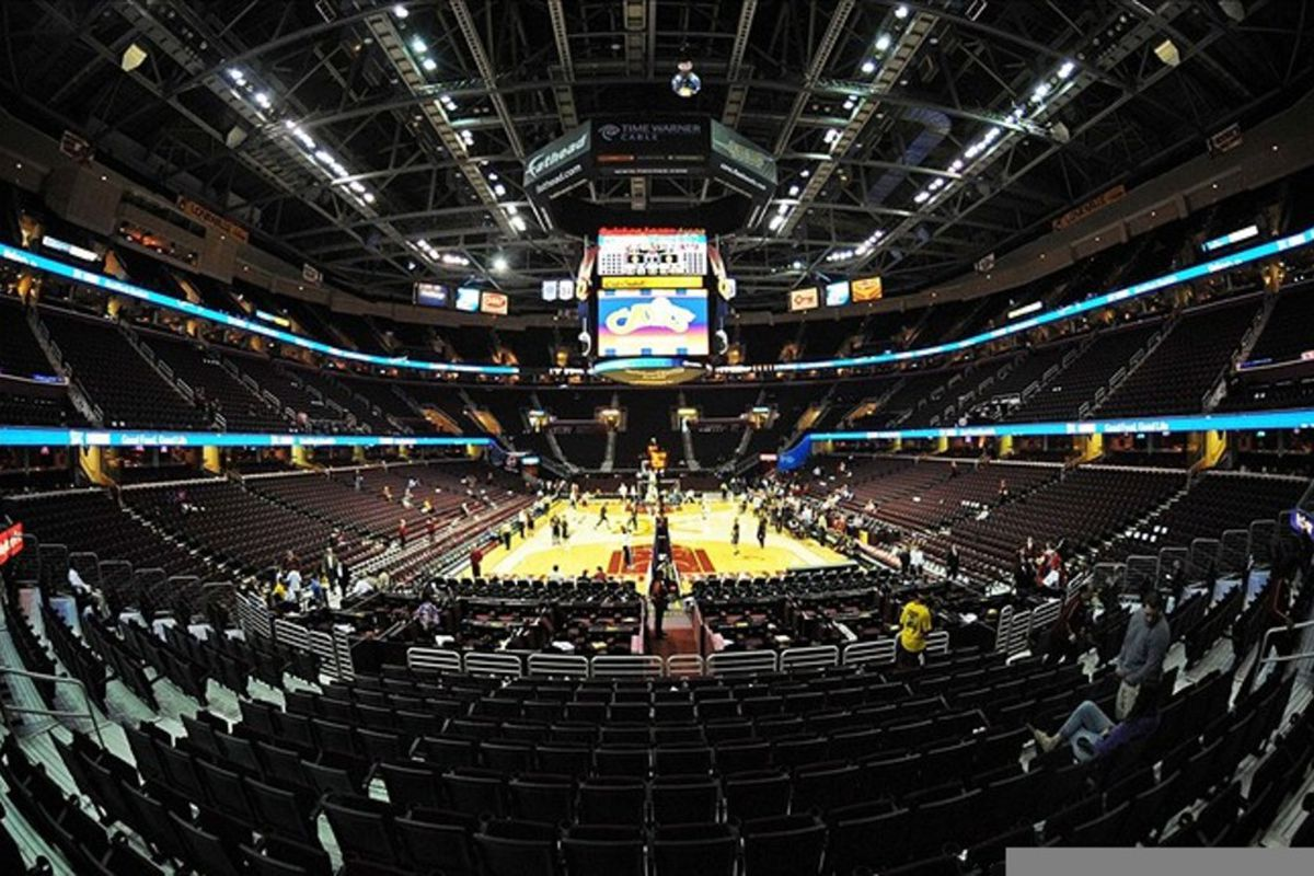 March 13, 2012; Cleveland, OH, USA: General view before the game between the Cleveland Cavaliers and the Toronto Raptors at Quicken Loans Arena.  Mandatory Credit: Eric P. Mull-USPRESSWIRE