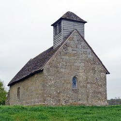 The Langley Puritan Chapel near Acton Burnell, Shropshire, England, viewed from the west.