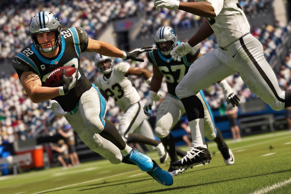 Carolina Panthers running back Christian McCaffrey running the ball against the Las Vegas Raiders in Madden NFL 21