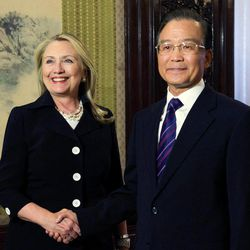 U.S. Secretary of State Hillary Rodham Clinton, left, shakes hands with Chinese Premier Wen Jiabao during a bilateral meeting at the Zhongnanhai leadership compound in Beijing, China, on Wednesday, Sept. 5, 2012.
