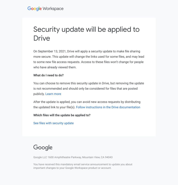 Correo electrónico de actualización de seguridad de Google Drive