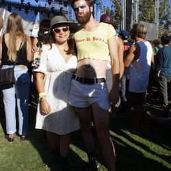 """""""Bernadine Bacharach"""" poses with a fan during Real Estate's set."""